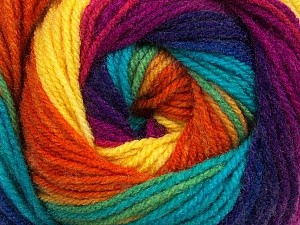 Fiber Content 100% Acrylic, Yellow, Turquoise, Purple, Orange, Brand ICE, Fuchsia, Yarn Thickness 3 Light  DK, Light, Worsted, fnt2-48136