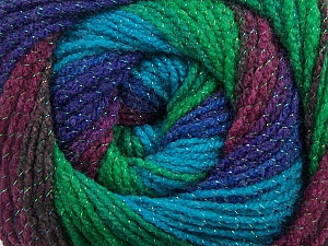 Fiber Content 95% Acrylic, 5% Lurex, Turquoise, Purple, Maroon, Brand Ice Yarns, Green, Brown, Blue, Yarn Thickness 3 Light  DK, Light, Worsted, fnt2-48183