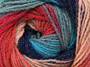 Fiber Content 95% Acrylic, 5% Lurex, Turquoise, Salmon, Pink, Navy, Brand ICE, Blue, Yarn Thickness 3 Light  DK, Light, Worsted, fnt2-48269
