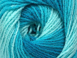 Fiber Content 95% Acrylic, 5% Lurex, Turquoise Shades, Brand Ice Yarns, Yarn Thickness 3 Light  DK, Light, Worsted, fnt2-49327