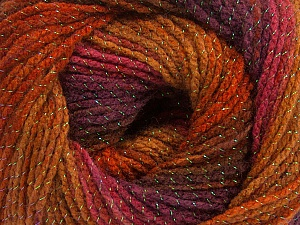 Fiber Content 95% Acrylic, 5% Lurex, Maroon, Brand Ice Yarns, Copper, Burgundy, Brown Shades, Yarn Thickness 3 Light  DK, Light, Worsted, fnt2-49328