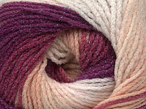 Fiber Content 95% Acrylic, 5% Lurex, White, Purple, Orchid, Light Pink, Brand ICE, Yarn Thickness 3 Light  DK, Light, Worsted, fnt2-49329