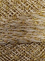 Fiber Content 70% Polyester, 30% Metallic Lurex, Brand YarnArt, Gold, Cream, Yarn Thickness 0 Lace  Fingering Crochet Thread, fnt2-17349