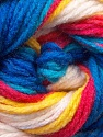 This is another self-striping yarn. The difference of this type is it has both self-patterni and spots between the stripes. Fiber Content 100% Baby Acrylic, Yellow, White, Red, Brand ICE, Blue, Yarn Thickness 2 Fine  Sport, Baby, fnt2-21917