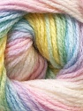 This is another self-striping yarn. The difference of this type is it has both self-patterni and spots between the stripes. Fiber Content 100% Baby Acrylic, Pastel Rainbow, Brand ICE, Yarn Thickness 2 Fine  Sport, Baby, fnt2-21919