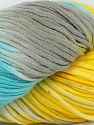 In this yarn a 100% Cotton lase yarn is used. Dyeing process is totally hand made with natural plants and NO chemicals were used. For this reason, please be advised that some white parts may remain. Fiber Content 100% Cotton, Yellow, White, Light Blue, Brand ICE, Grey, Yarn Thickness 3 Light  DK, Light, Worsted, fnt2-39233