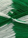 Very thin yarn. It is spinned as two threads. So you will knit as two threads. Yardage information if for two strands. Fiber Content 100% Acrylic, White, Brand ICE, Green, Yarn Thickness 1 SuperFine  Sock, Fingering, Baby, fnt2-39626