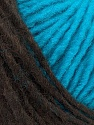 Please note that the yarn is a self-striping yarn. See package photos for the color appaerance Fiber Content 60% Acrylic, 40% Wool, Turquoise, Brand ICE, Brown, Yarn Thickness 4 Medium  Worsted, Afghan, Aran, fnt2-39701