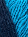 Please note that the yarn is a self-striping yarn. See package photos for the color appaerance Fiber Content 60% Acrylic, 40% Wool, Turquoise, Navy, Brand ICE, Yarn Thickness 4 Medium  Worsted, Afghan, Aran, fnt2-39702