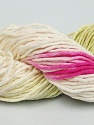 In this yarn a 100% Cotton lase yarn is used. Dyeing process is totally hand made with natural plants and NO chemicals were used. For this reason, please be advised that some white parts may remain. Fiber Content 100% Cotton, White, Brand ICE, Green, Fuchsia, Yarn Thickness 2 Fine  Sport, Baby, fnt2-40346