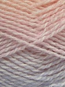Note that this is a self-stripping yarn. Please see package photos for the color change. Machine washable and dryable. ส่วนประกอบ 100% สังเคราะห์, White, Lilac, Light Orange, Brand ICE, Baby Pink, fnt2-42736