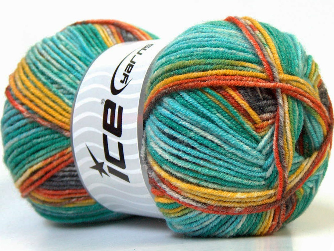 Bamboo Wool Magic Yellow Turquoise Orange Green Brown at Ice Yarns ...