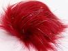 Silver Red 2 Faux Fur PomPoms
