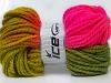 Hand-Dyed Wool Bulky Green Shades Fuchsia