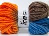 Hand-Dyed Wool Bulky Orange Camel Blue