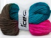 Hand-Dyed Wool Cord Turquoise Fuchsia Brown
