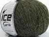 Wool Cord Fine Silver Dark Green Glitz