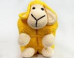 Lamb figure pillow. Dimensions: 27cm x 25 cm x 20 cm Yellow, Brand Ice Yarns, Cream, acs-1051