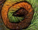 Fiber Content 48% Acrylic, 48% Wool, 4% Metallic Lurex, Brand Ice Yarns, Green Shades, Gold, Brown Shades, Yarn Thickness 2 Fine  Sport, Baby, fnt2-49828