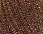 Ne: 10/3 Nm: 17/3 Fiber Content 96% Mercerised Cotton, 4% Metallic Lurex, Brand Ice Yarns, Gold, Brown, Yarn Thickness 1 SuperFine  Sock, Fingering, Baby, fnt2-49852