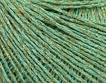 Fiber Content 70% Acrylic, 17% Metallic Lurex, 13% Polyamide, Mint Green, Brand Ice Yarns, Gold, fnt2-50989
