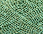 Fiber Content 70% Acrylic, 17% Metallic Lurex, 13% Polyamide, Mint Green, Brand Ice Yarns, Gold, fnt2-50992