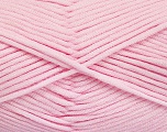 This is a tube-like yarn with soft fleece inside. Fiber Content 73% Viscose, 27% Polyester, Light Pink, Brand ICE, Yarn Thickness 5 Bulky  Chunky, Craft, Rug, fnt2-52050