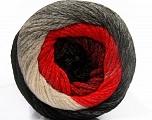 Fiber Content 90% Acrylic, 10% Polyamide, Red, Brand ICE, Grey, Black, Yarn Thickness 4 Medium  Worsted, Afghan, Aran, fnt2-53723