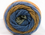 Fasergehalt 70% Acryl, 30% Wolle, Khaki, Brand Ice Yarns, Green, Dark Cream, Blue, fnt2-54072