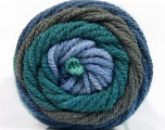 Fiber Content 70% Acrylic, 30% Wool, Teal, Brand Ice Yarns, Grey, Blue Shades, fnt2-54119