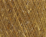 Fiber Content 9% Metallic Lurex, 35% Cotton, 31% Acrylic, 25% Polyamide, Yellow, White, Brand Ice Yarns, Gold, fnt2-54246
