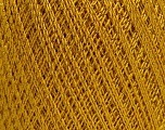Ne: 10/3 Nm: 17/3 Fiber Content 96% Mercerised Cotton, 4% Metallic Lurex, Brand Ice Yarns, Gold, fnt2-54247