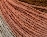 Fiber indhold 100% Akryl, White, Powder Pink, Brand Ice Yarns, Brown Shades, fnt2-54269