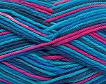 Fiber Content 100% Cotton, Turquoise Shades, Navy, Brand Ice Yarns, Fuchsia, fnt2-54356