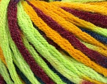 Fiber Content 50% Wool, 50% Acrylic, Neon Green, Brand ICE, Gold, Burgundy, Blue, Yarn Thickness 6 SuperBulky  Bulky, Roving, fnt2-54412