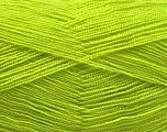 Very thin yarn. It is spinned as two threads. So you will knit as two threads. Yardage information is for only one strand. Fiber Content 100% Acrylic, Light Green, Brand Ice Yarns, fnt2-54689