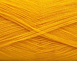 Very thin yarn. It is spinned as two threads. So you will knit as two threads. Yardage information is for only one strand. Fiber Content 100% Acrylic, Brand Ice Yarns, Gold, fnt2-54695