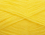 Very thin yarn. It is spinned as two threads. So you will knit as two threads. Yardage information is for only one strand. Fiber Content 100% Acrylic, Yellow, Brand Ice Yarns, fnt2-54699