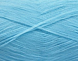 Very thin yarn. It is spinned as two threads. So you will knit as two threads. Yardage information is for only one strand. Fiber Content 100% Acrylic, Brand Ice Yarns, Baby Blue, fnt2-54724