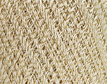 Ne: 10/3 Nm: 17/3 Fiber Content 96% Mercerised Cotton, 4% Metallic Lurex, Brand Ice Yarns, Gold, Cream, fnt2-54758