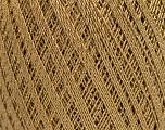Ne: 10/3 Nm: 17/3 Contenido de fibra 96% Mercerizado del algodón, 4% Metálicos Lurex, Brand Ice Yarns, Gold, Camel, fnt2-54759