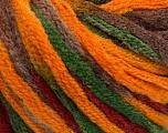 Contenido de fibra 50% Lana, 50% Acrílico, Brand Ice Yarns, Green, Gold, Burgundy, Brown, fnt2-54873