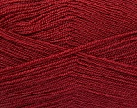 Very thin yarn. It is spinned as two threads. So you will knit as two threads. Yardage information is for only one strand. Fiber Content 100% Acrylic, Brand Ice Yarns, Burgundy, fnt2-54875