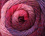 Fiber Content 48% Wool, 48% Acrylic, 4% Metallic Lurex, Pink Shades, Maroon, Lilac, Brand ICE, Yarn Thickness 2 Fine  Sport, Baby, fnt2-55568