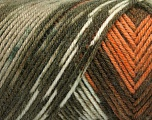 Fiber Content 50% Wool, 50% Acrylic, Turquoise, Orange, Khaki Shades, Brand ICE, Brown, Yarn Thickness 3 Light  DK, Light, Worsted, fnt2-56447