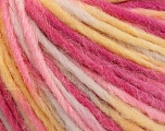 Fiber Content 50% Acrylic, 50% Wool, Yellow, White, Pink Shades, Brand ICE, Yarn Thickness 4 Medium  Worsted, Afghan, Aran, fnt2-57241