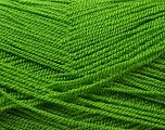 Very thin yarn. It is spinned as two threads. So you will knit as two threads. Yardage information is for only one strand. Fiber Content 100% Acrylic, Brand Ice Yarns, Green, Yarn Thickness 1 SuperFine  Sock, Fingering, Baby, fnt2-22445