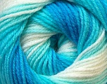 Fiber Content 100% Baby Acrylic, White, Turquoise Shades, Brand Ice Yarns, Yarn Thickness 2 Fine  Sport, Baby, fnt2-29604