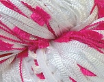 Hand-Tied Cocktail line includes yarns that are hand-tied and made by combining different types of fancy yarns from end-to-end. To make a scarf with this yarn, all you need is to knit 150 stitches per row with 5mm / US 8 . Please note that the weight and yardage information iof this yarn is approximate, and since yarn is hand-tied items made with this yarn will have knots. Fiber Content 100% Polyester, White, Brand Ice Yarns, Fuchsia, Yarn Thickness 4 Medium  Worsted, Afghan, Aran, fnt2-29800