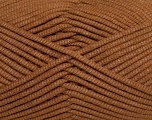 This is a tube-like yarn with soft fleece inside. Fiber Content 73% Viscose, 27% Polyester, Brand Ice Yarns, Brown, Yarn Thickness 5 Bulky  Chunky, Craft, Rug, fnt2-35602